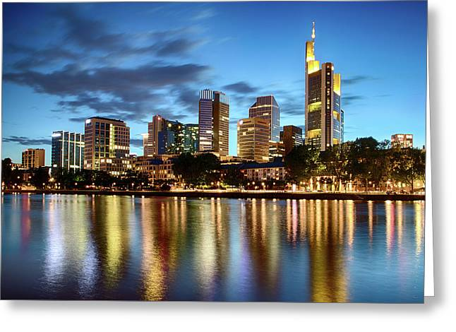 Greeting Card featuring the photograph Frankfurt Skyline At Night by Marc Huebner