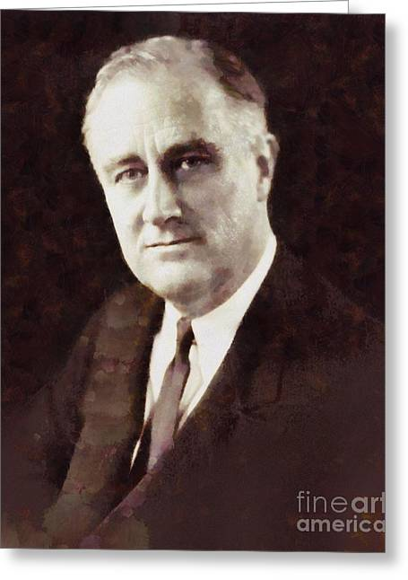 Franklin Delano Roosevelt, President United States By Sarah Kirk Greeting Card by Sarah Kirk