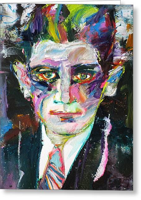 Franz Kafka - Oil Portrait.1 Greeting Card by Fabrizio Cassetta