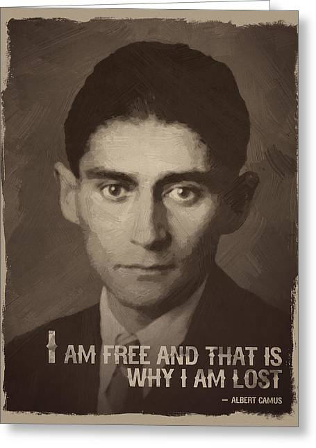 Franz Kafka Quote Greeting Card by Afterdarkness
