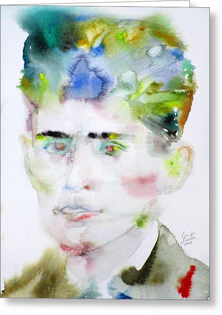 Franz Kafka - Watercolor Portrait.5 Greeting Card by Fabrizio Cassetta