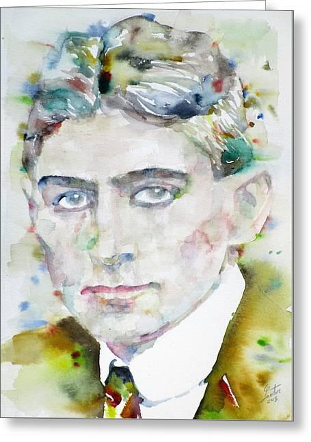 Franz Kafka - Watercolor Portrait.6 Greeting Card by Fabrizio Cassetta