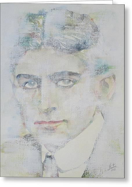 Franz Kafka - Watercolor Portrait.7 Greeting Card by Fabrizio Cassetta