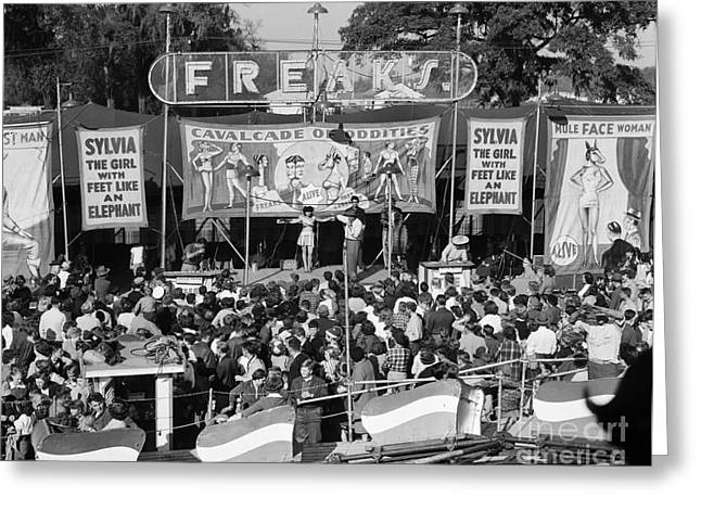 Freak Show At County Fair, C.1950s Greeting Card
