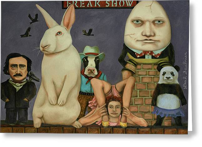 Greeting Card featuring the painting Freak Show by Leah Saulnier The Painting Maniac