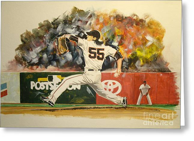 Freaky Tim Lincecum Greeting Card by Phil  King