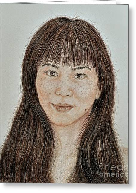 Freckle Faced Asian Beauty With Bangs  Greeting Card by Jim Fitzpatrick