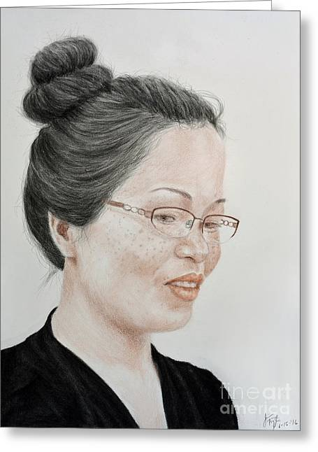 Freckle Faced Beauty With Glasses And Her Hair Up Greeting Card by Jim Fitzpatrick