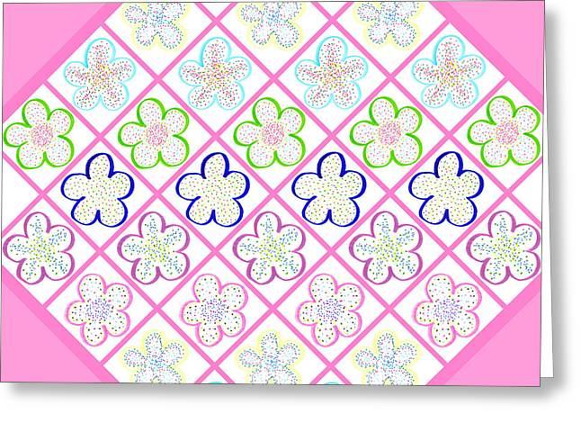 Freckled Flowers Quilt Greeting Card by Irina Sztukowski