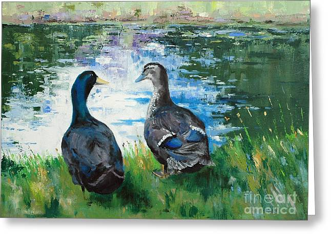 Fred And Ethel At Scott's Pond Greeting Card