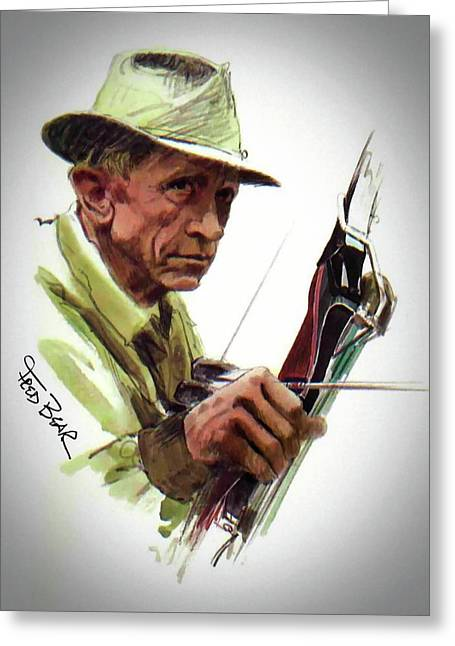 Fred Bear Archery Hunting Bow Arrow Sport Target Greeting Card