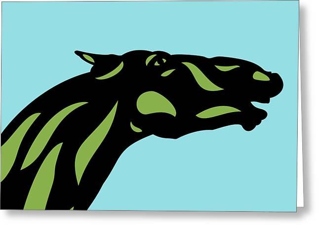 Fred - Pop Art Horse - Black, Greenery, Island Paradise Blue Greeting Card