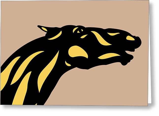 Fred - Pop Art Horse - Black, Primrose Yellow, Hazelnut Greeting Card