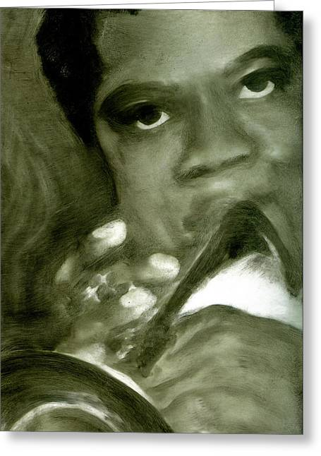 Greeting Card featuring the painting Freddie Hubbard by FeatherStone Studio Julie A Miller