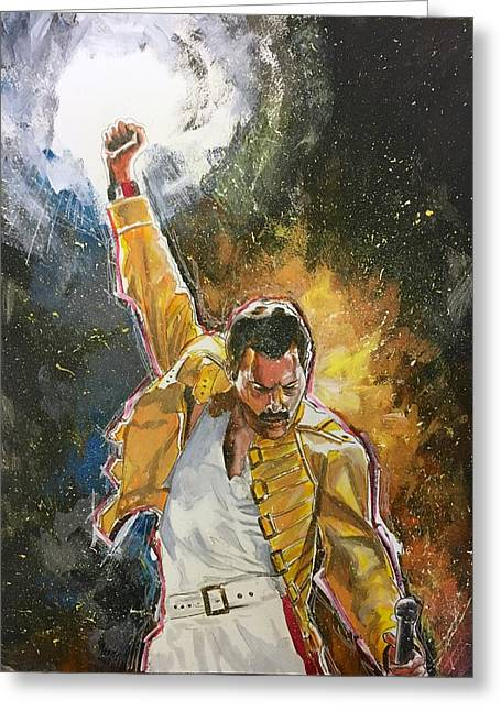 Greeting Card featuring the painting Freddie by Joel Tesch
