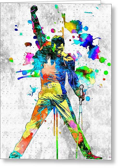 Freddie Mercury Grunge Greeting Card by Daniel Janda