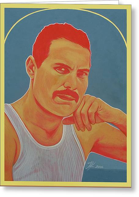 Freddie Mercury Greeting Card by Jovana Kolic