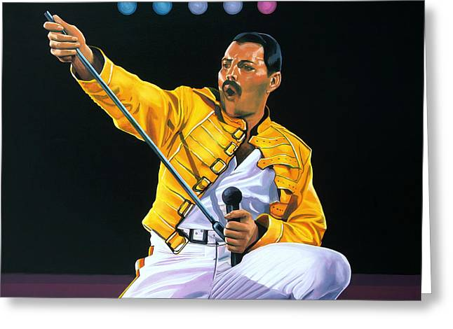Freddie Mercury Live Greeting Card by Paul Meijering