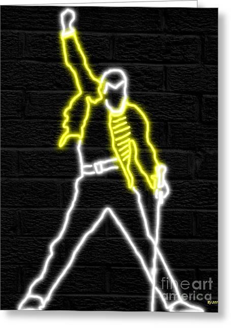 Freddie Mercury Neon Greeting Card by Daniel Janda