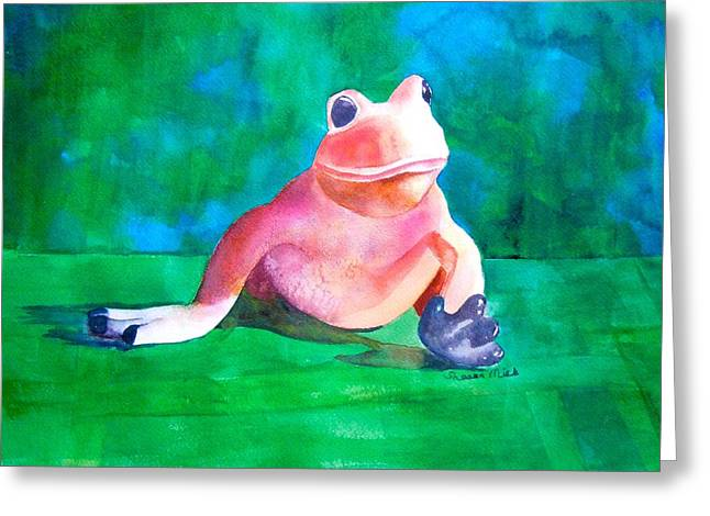 Greeting Card featuring the painting Freddy The Frog by Sharon Mick