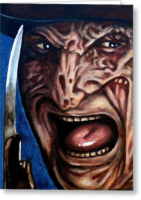 Greeting Card featuring the painting Freddy Up Close And Personal by Al  Molina