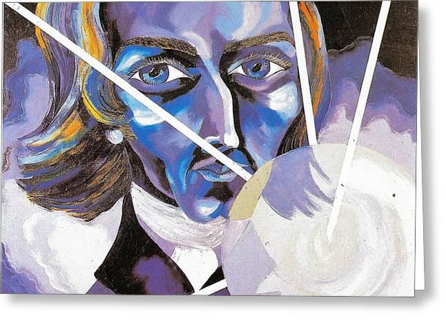 Frederic Chopin Oil Portrait Greeting Card by Preciada Azancot