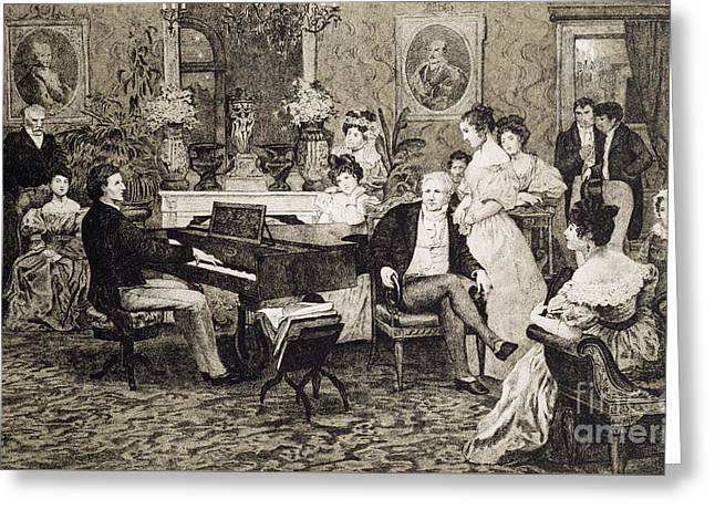 Frederic Chopin Playing In The Salon Of The Musician And Composer Prince Anthony Radziwill Greeting Card by Hendrik Siemiradzki