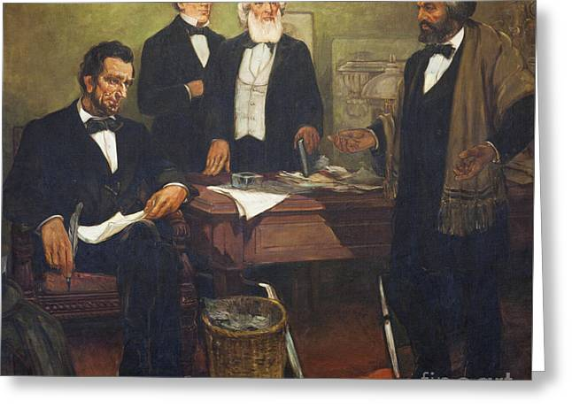 Frederick Douglass Appealing To President Lincoln And His Cabinet To Enlist African Americans Greeting Card by William Edouard Scott