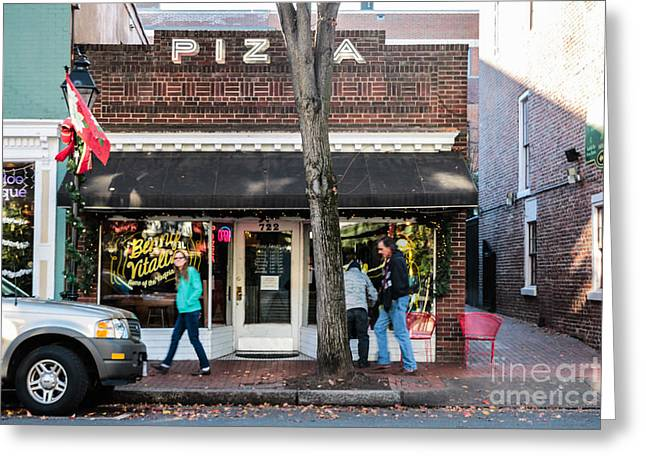 Fredricksburg Pizza Shop Greeting Card by Thomas Marchessault