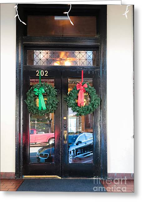Fredricksburg Door Decorated For Christmas Greeting Card by Thomas Marchessault