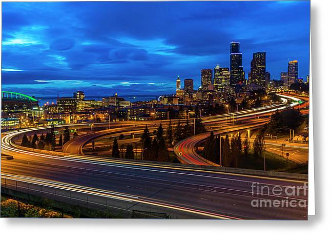 Freeway 5 North To Seattle Greeting Card