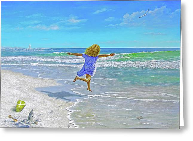 Free On Sand And Sea Greeting Card by Reb Benno