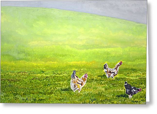 Free Range Chickens Greeting Card by Francis Robson