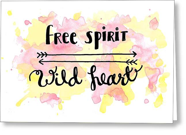 Free Spirit Wild Heart Watercolor Greeting Card