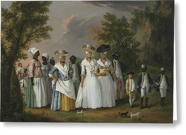 Free Women Of Color With Their Children And Servants In A Landscape Greeting Card by Agostino Brunias