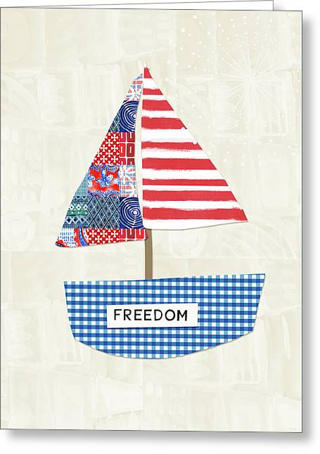 Freedom Boat- Art By Linda Woods Greeting Card by Linda Woods