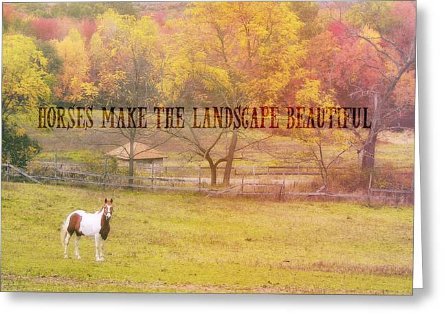 Greeting Card featuring the photograph Freedom Farm Quote by Dressage Design