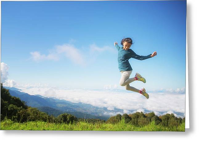 Freedom Girl In Kew Mae Pan, Doi Inthanon Greeting Card by Anek Suwannaphoom
