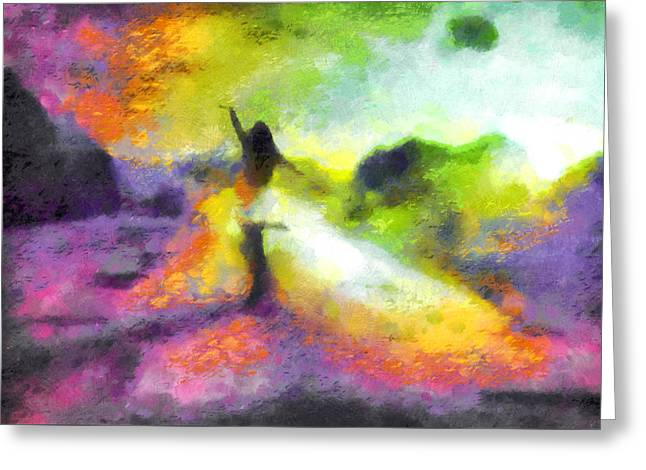 Freedom In The Rainbow Greeting Card by Mario Carini