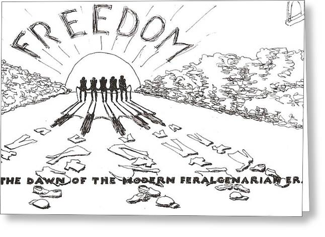 Greeting Card featuring the drawing Freedom by R  Allen Swezey