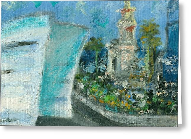 Miami Heat Greeting Cards - Freedom Tower and AAA Greeting Card by Jorge Delara