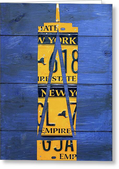 Freedom Tower World Trade Center New York City Skyscraper License Plate Art Greeting Card by Design Turnpike