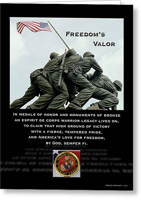 Freedom's Valor II Greeting Card by Patrick J Maloney