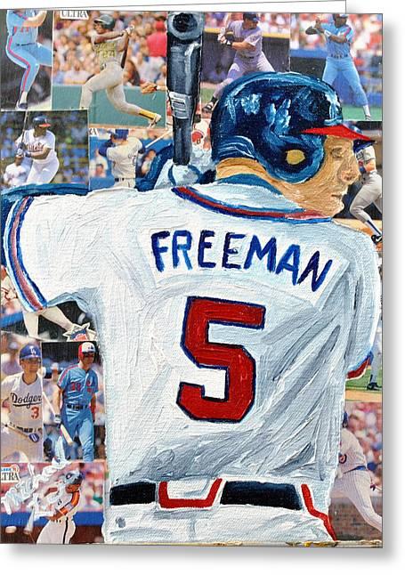 Freeman At Bat Greeting Card by Michael Lee