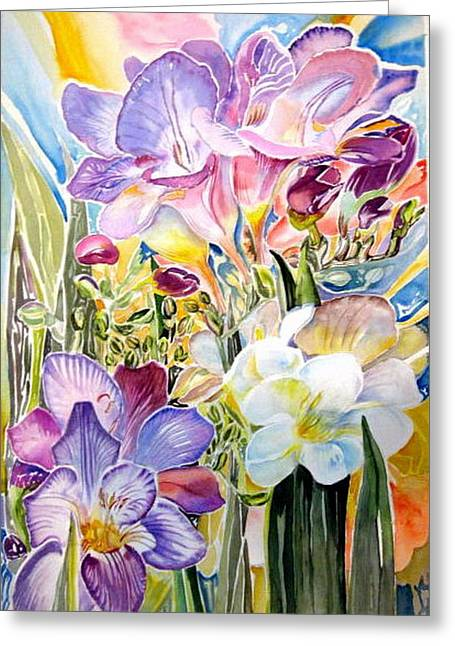 Freesias  Greeting Card by Therese AbouNader