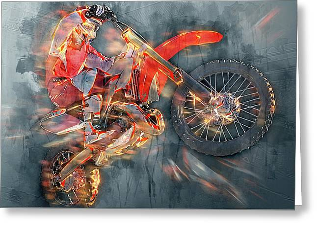 Freestyle Motocross Greeting Card by Sergey Yurchenko