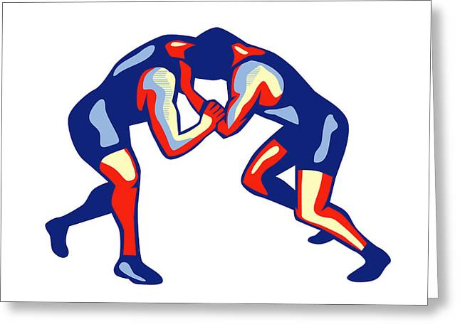 Freestyle Wrestling Retro Greeting Card by Aloysius Patrimonio