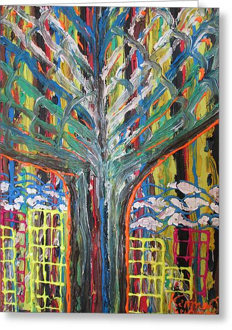 Freetown Cotton Tree - Abstract Impression Greeting Card by Mudiama Kammoh