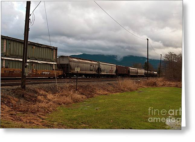 Freight Rain Greeting Card by Clayton Bruster