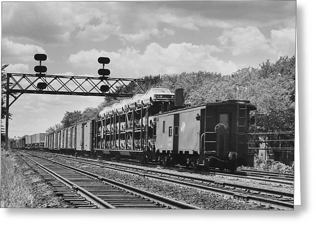 Freight Train Carrying Automobiles  Greeting Card